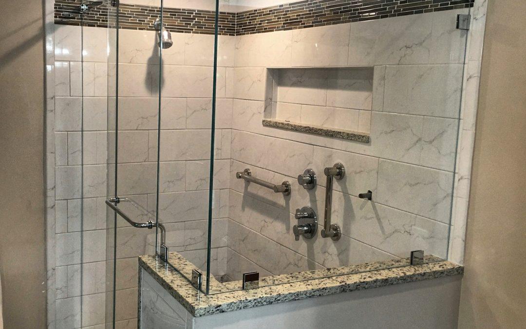 Frameless Barn Style Sliding Shower Door Installed In North Reading Image Glassworks
