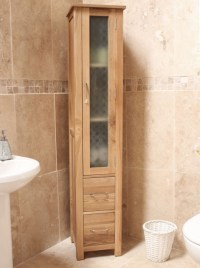 Mobel solid oak furniture bathroom tall cabinet storage ...