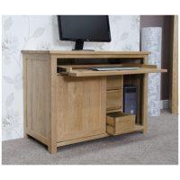 Nero solid oak furniture home office PC hideaway computer ...