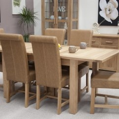 Dining Table With Leather Chairs Iron Throne Office Chair Eton Solid Oak Furniture Extending Six