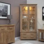 Details About Eton Solid Oak Living Room Furniture Glazed Display Cabinet Cupboard