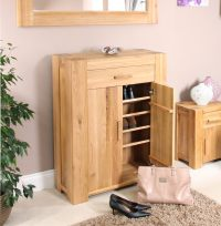 Palma solid chunky oak hallway furniture shoe storage ...
