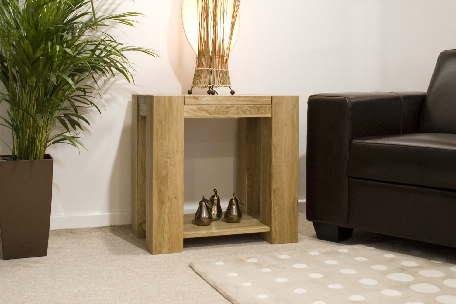 living room side table leather accent chairs for pemberton solid chunky oak furniture lamp sofa