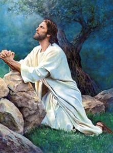 Jesús Orando arrodillado