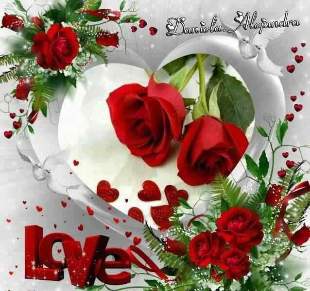 Imagenes de rosas rojas con corazones Love