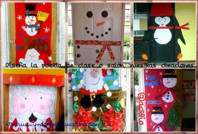 Manualidades navideñas puertas Collage