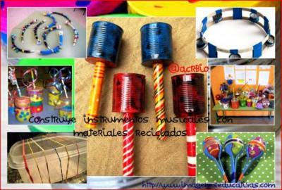 instrumentos musicales materiales reciclados collage II