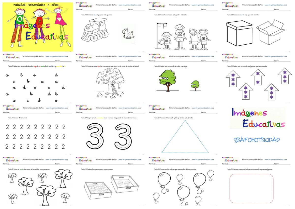 Cuadernillo De 40 Actividades Para 3 A Os Educaci N Preescolar ~ Juegos Para  Ninos De Tres Años En Casa