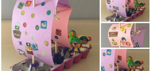 Barco pirata Cartones huevos Collage Portada