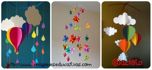 moviles de papel y cartulina para decorar los techos de de tu clases