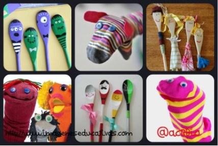 Marionetas Calcetines y cucharas Collage