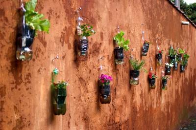Huerto escolar botellas plastico y otros materiales reciclados (3)