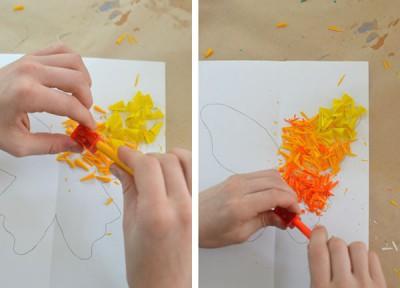 Mariposas de papel con ceras y crayones reciclados (2.5)