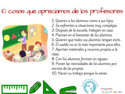 10 Cosas que apreciamos de los profesores