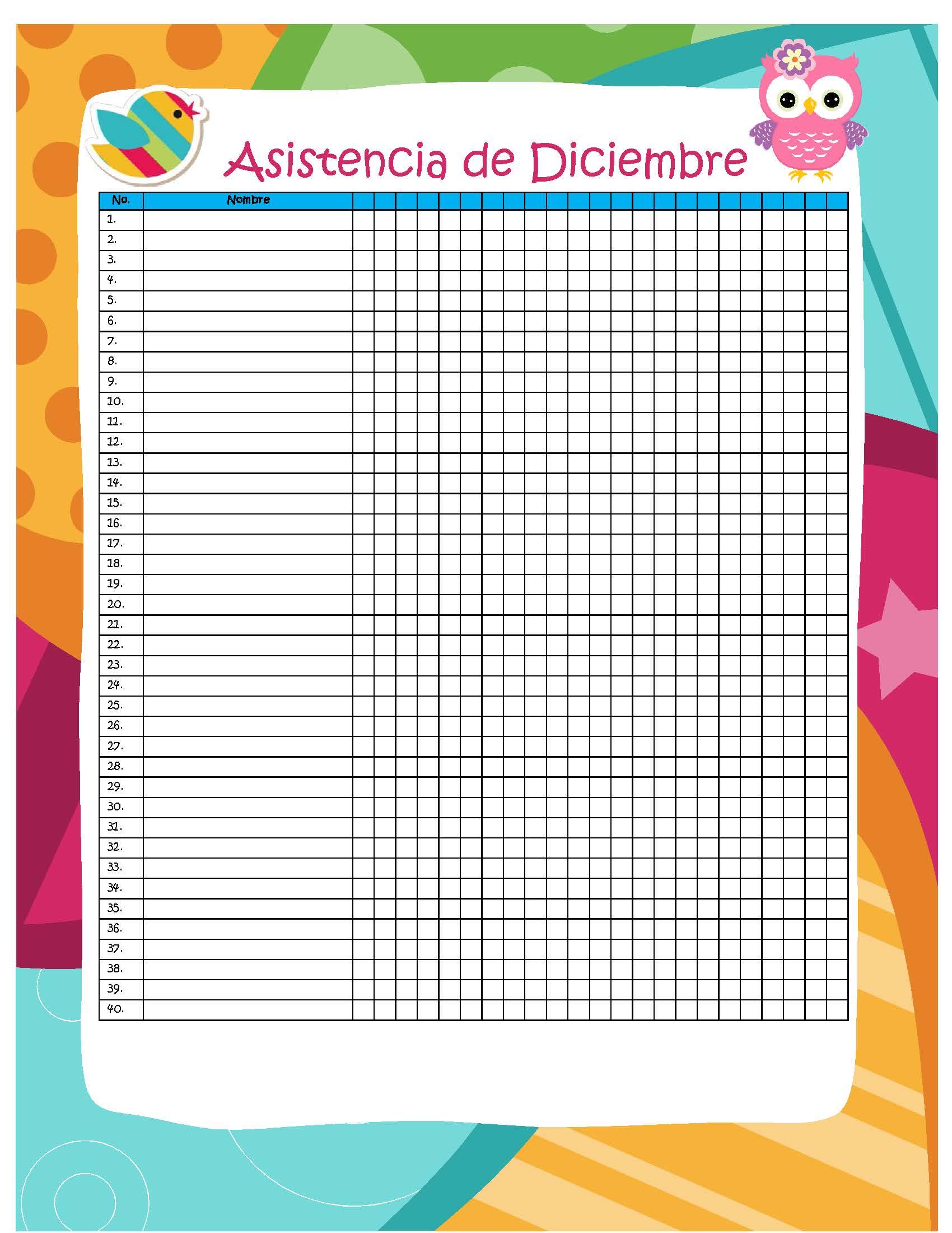 formato lista de asistencia