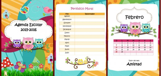 Agenda curso 2015-2016. Motivo Búhos Portada