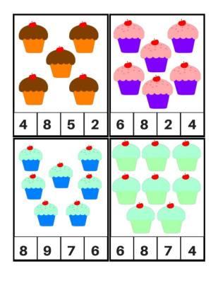 Tarjetas para aprender los números, Motivos Cupcakes (3)