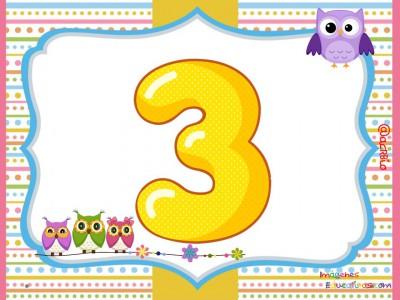 Números 1 al 9 Motivo Búhos (3)