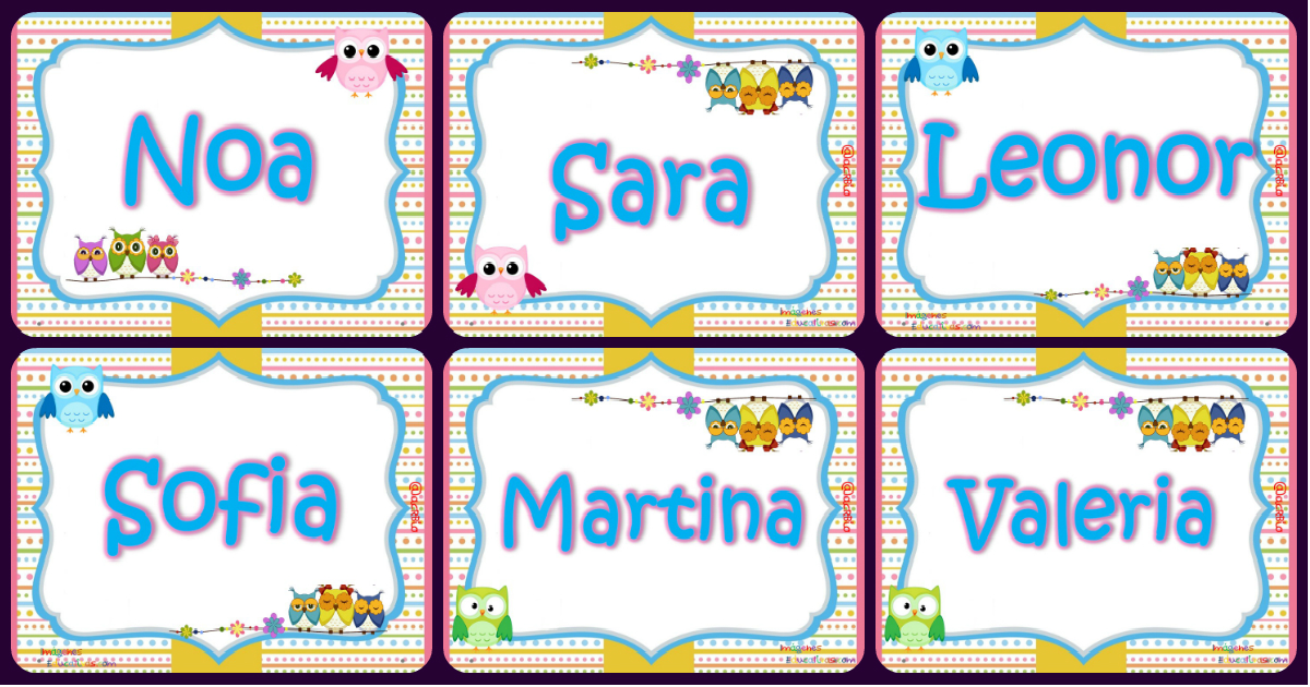 Tarjetas imprimibles y editables nombres de niños y de niñas ...