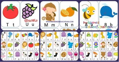 Lotería De Letras Animales Y Frutas Formatos Grande Y