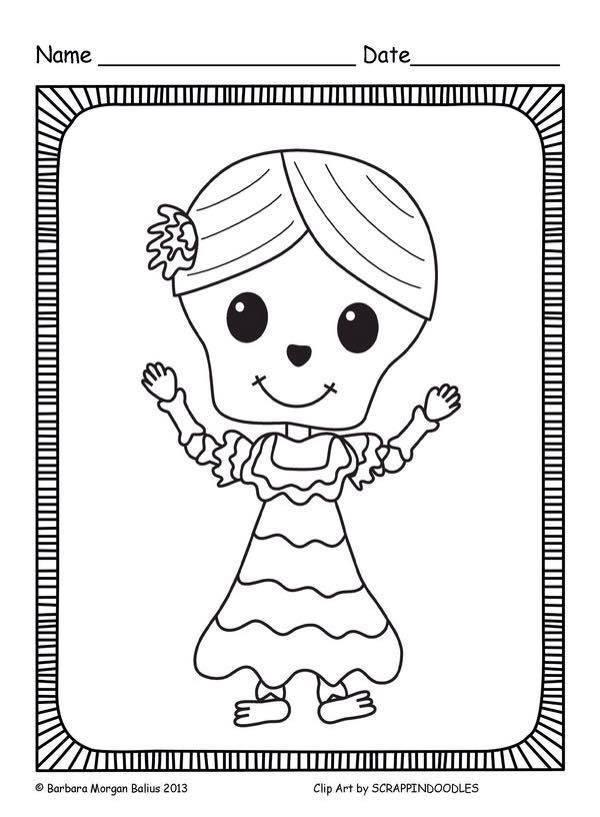 Dibujos para colorear el día de los muertos (19) - Imagenes Educativas