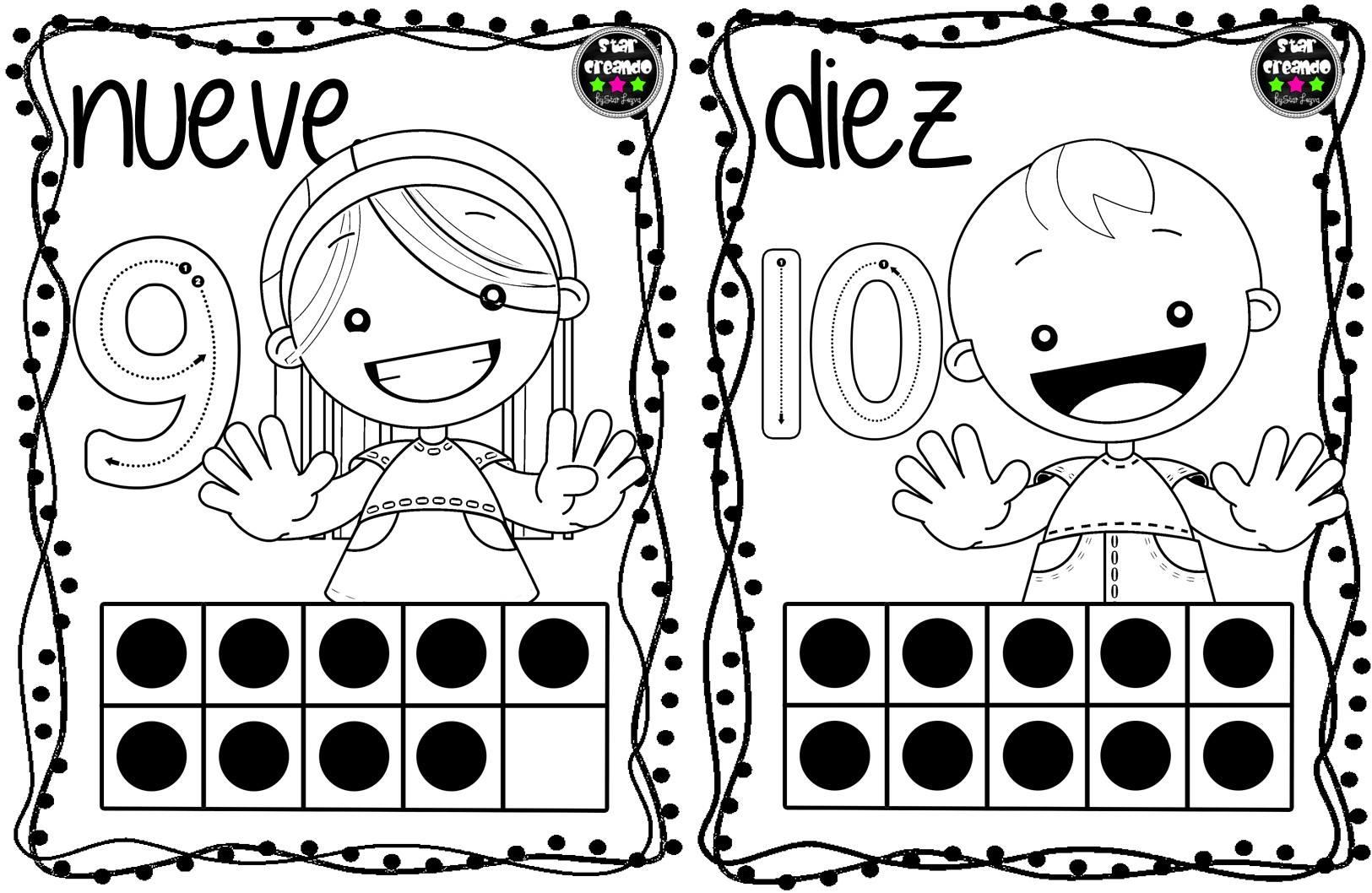 Dibujos Para Colorear Con Numeros Del 1 Al 100: Tarjetas Números Para Colorear (1)