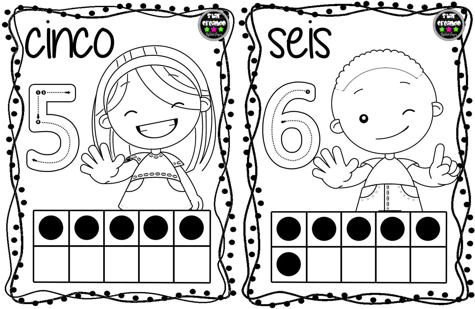 Tarjetas números para colorear (4) - Imagenes Educativas