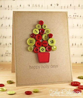 Tarjetas de Navidad Con Botones (5)