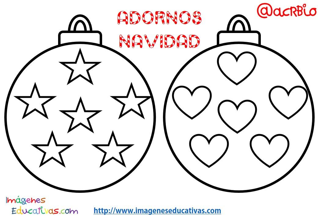 Bolas de navidad colorear 2 imagenes educativas - Dibujos infantiles originales ...