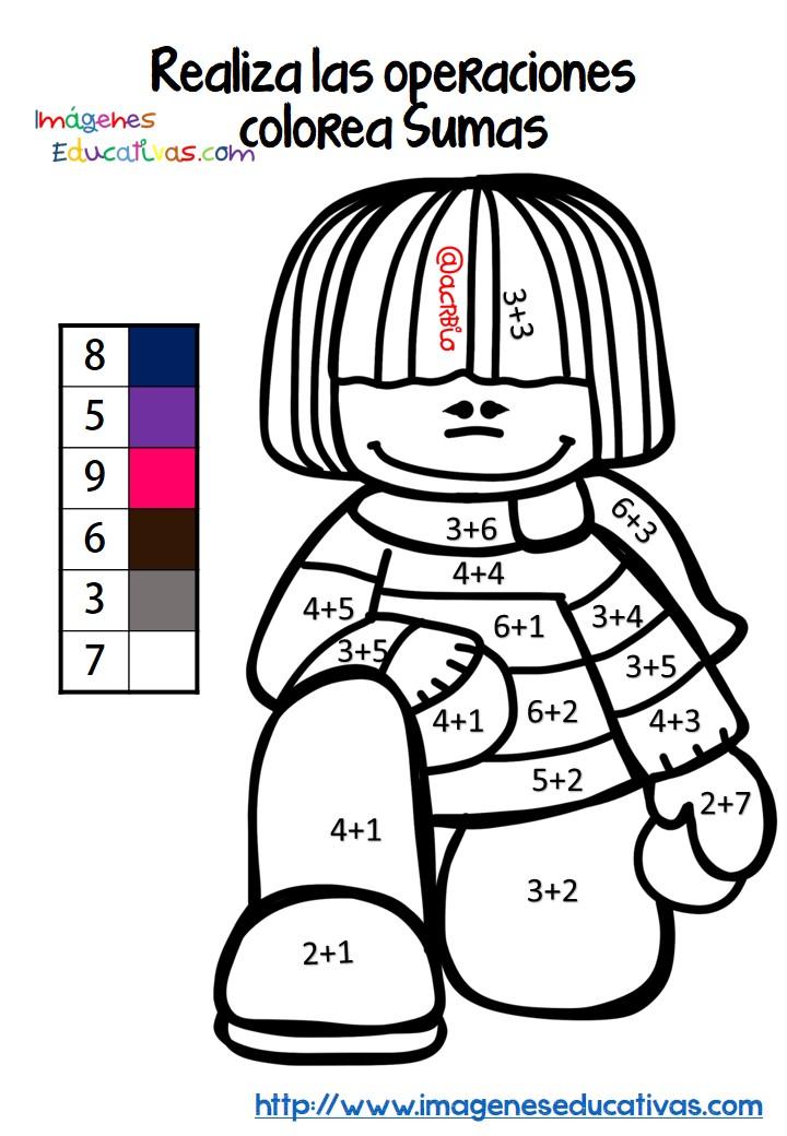 Fichas colorear sumas y restas (5) - Imagenes Educativas