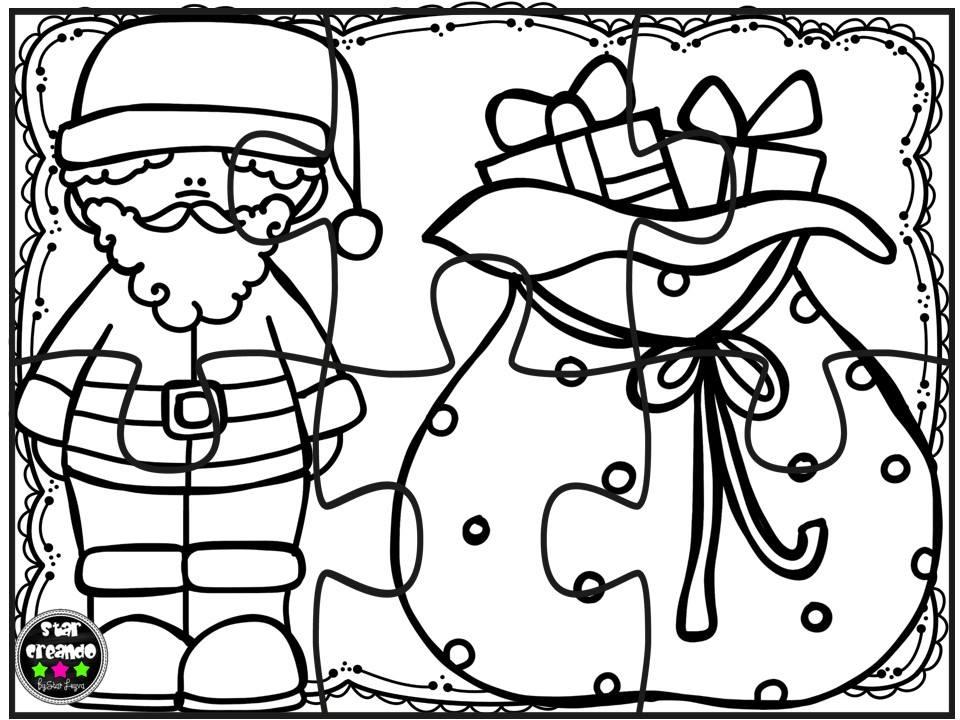 Puzzles navidad para colorear (2) - Imagenes Educativas