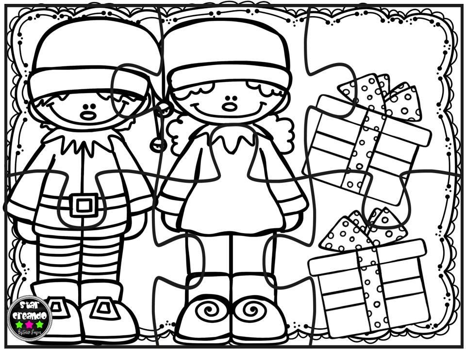 Puzzles navidad para colorear 4 imagenes educativas - Sobre de navidad para imprimir ...