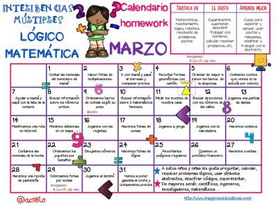 Calendario Inteligencias Múltiples LÓGICO MATEMÁTICAS Marzo--