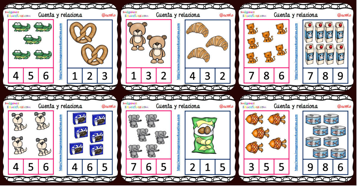 Fichas Para Aprender A Contar Con Dibujos De Animales Y