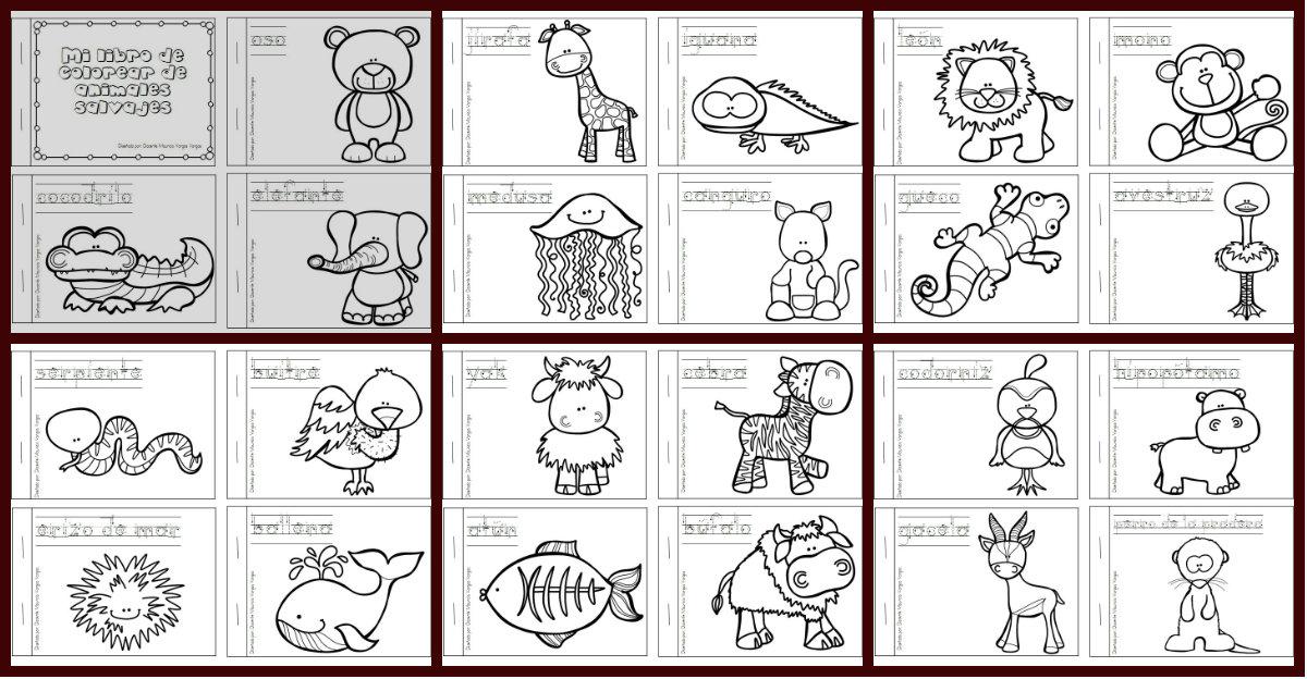 Mi Libro De Colorear De Animales Salvajes Portada Imagenes Educativas