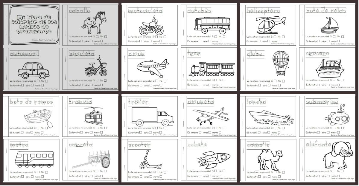 Imagenes Para Portada De Español Para Colorear: Mi Libro De Colorear De Medios De Transporte PORTADA