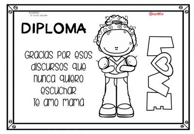 Diplomas para colorear del día de las madres. 10 de Mayo (10)