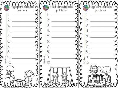 Plantillas de dictados, silábicos, palabras, frases y oraciones ...
