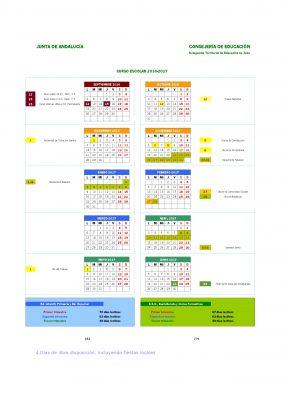 Calendario escolares 2016-2017  Jaen