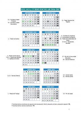 Calendario escolares 2016-2017  Malaga