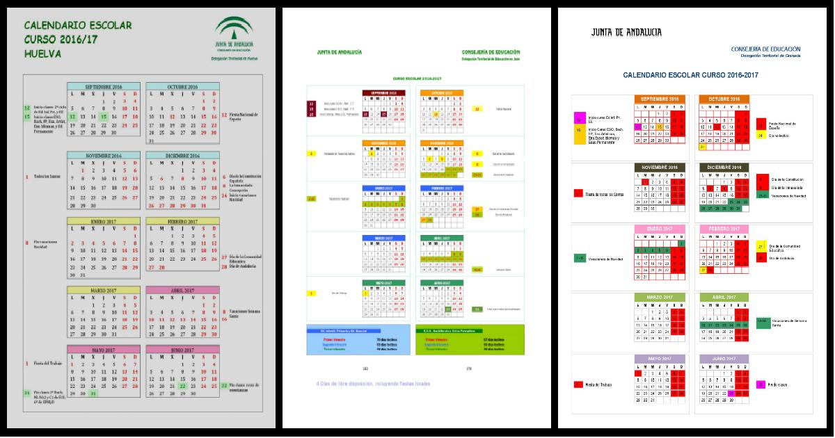 Calendario Escolar Huelva.Calendario Escolar Huelva 2016