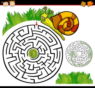 Cartoon Illustration of Education Maze or Labyrinth Game for Preschool Children with Funny Snail and Lettuce or Cabbage