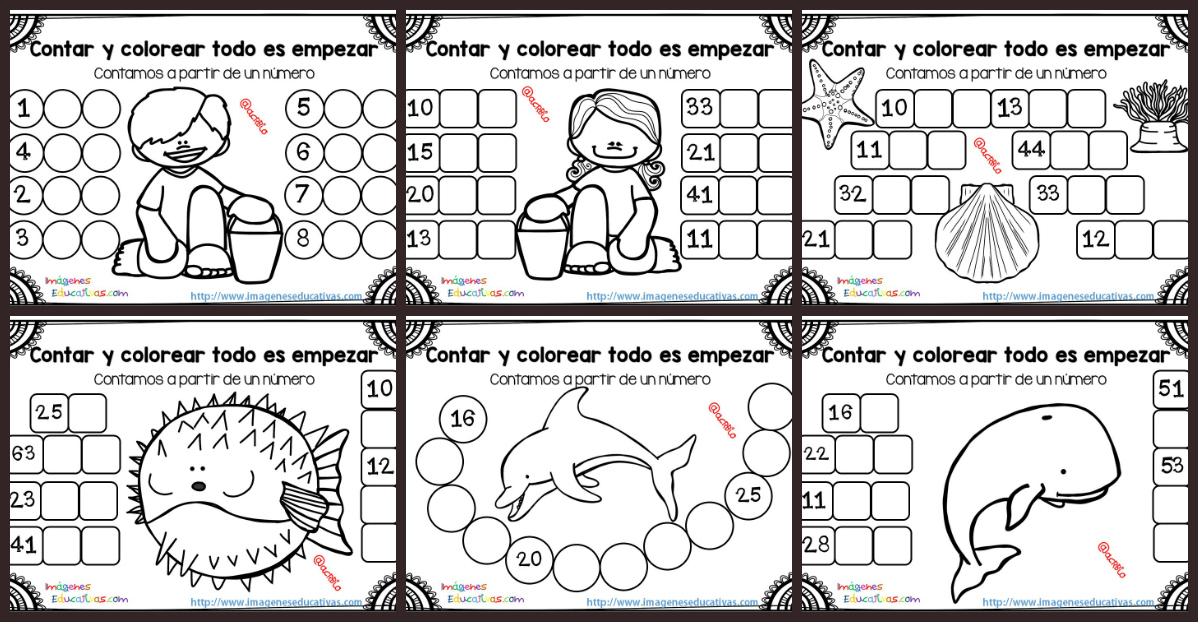 Contar y colorear todo es empezar - Imagenes Educativas