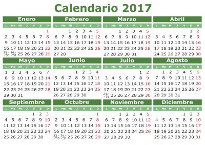 2017 vector calendar in Spanish. Easy for edit and apply. Calendario 2017