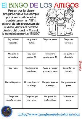 """Actividad para los primeros días de clase """"El BINGO DE LOS AMIGOS"""" (12)"""