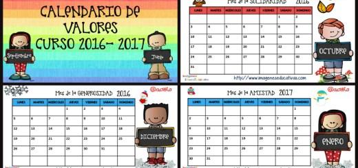 Calendario de VALORES y planificador semanal 2016 2017.Listo para ...