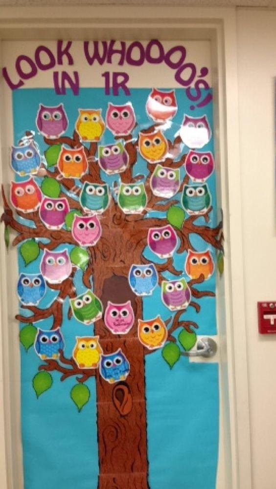 Puertas y decoraciones con buhos 9 imagenes educativas for Decoracion para puertas de preescolar