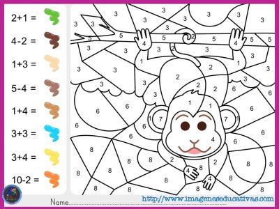 Colorea por por sumas y números - Imagenes Educativas