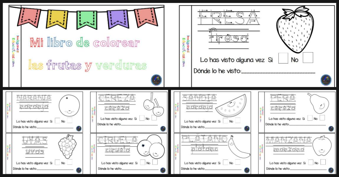 Mi cuaderno para colorear frutas y verduras - Imagenes Educativas