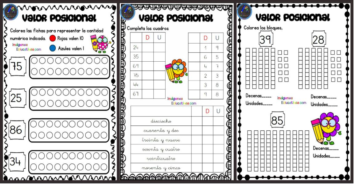 Fichas para trabajar el valor posicional - Imagenes Educativas
